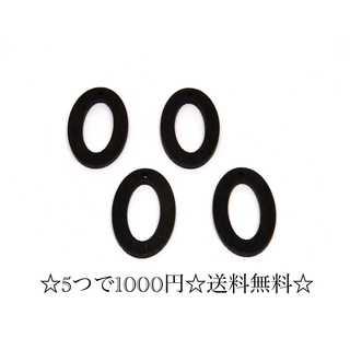 【522】楕円チャーム*丸枠*黒*6個(各種パーツ)