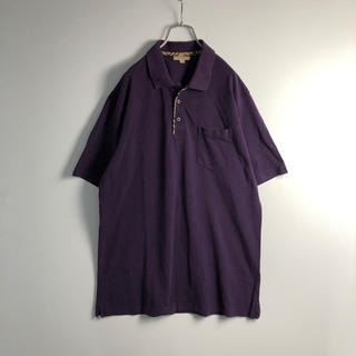 バーバリー(BURBERRY)のバーバリー ロンドン 半袖 ポロシャツ メンズ XL 紫 古着(ポロシャツ)