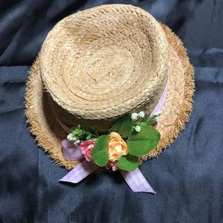 ワンスポ(one spo)の◆新品◆onespo麦わら帽ハットカンカン帽◆ギンガムチェック+お花(麦わら帽子/ストローハット)