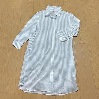 シマムラ(しまむら)のしまむら 7分袖ストライプシャツワンピース(ひざ丈ワンピース)
