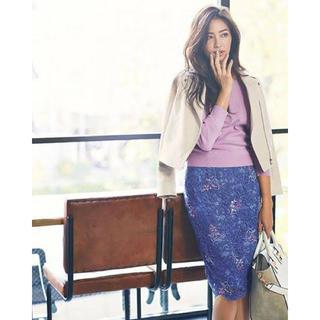 ジャスグリッティー(JUSGLITTY)の美品 ♡ ジャスグリッティー レース 刺繍 タイトスカート(ひざ丈スカート)