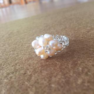 シャーベットオレンジ♡パールビーズリング(リング(指輪))