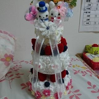 あみぐるみ、苺とお花のウェディングケーキ(あみぐるみ)