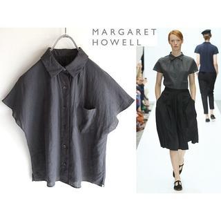 マーガレットハウエル(MARGARET HOWELL)の美品 名作 マーガレットハウエル フレンチスリーブ リネンシャツ 1 麻100%(シャツ/ブラウス(半袖/袖なし))