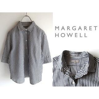 マーガレットハウエル(MARGARET HOWELL)のマーガレットハウエル 丸襟 コットンシルク ストライプシャツ 1 日本製 春夏(Tシャツ(半袖/袖なし))