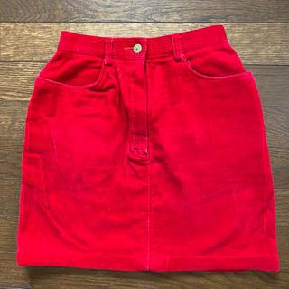 マザー(mother)の赤 コーデュロイ スカート 60s 〜70s(ひざ丈スカート)