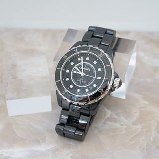 シャネル(CHANEL)の★CHANEL★J12 12Pダイヤ 腕時計 メンズ 黒セラ(腕時計(アナログ))