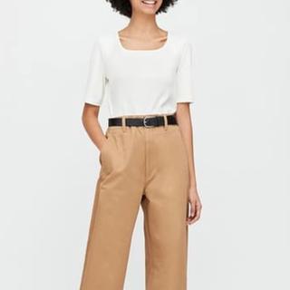 ユニクロ(UNIQLO)の新品 リブスクエアネックT Lサイズ UNIQLO(Tシャツ(半袖/袖なし))