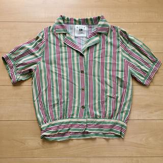 シマムラ(しまむら)のしまむら URBANITY ストライプ 開襟シャツ(シャツ/ブラウス(半袖/袖なし))