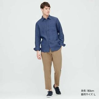 ユニクロ(UNIQLO)のユニクロ UNIQLO プレミアムリネンシャツ(長袖)Blueブルー Lサイズ(Tシャツ/カットソー(七分/長袖))