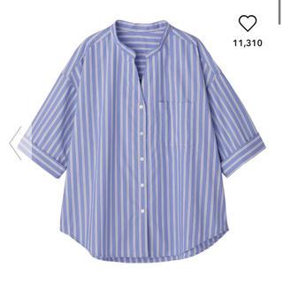 GU - ストライプワイドスリーブシャツ☆Lサイズ☆gu
