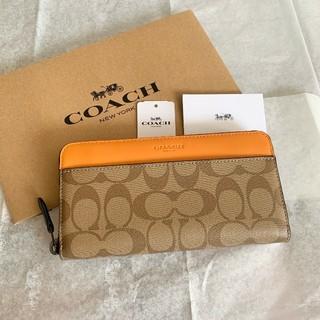 COACH - 最新モデル 新品 COACH 長財布 シグネチャー カーキ×オレンジ