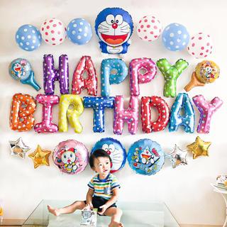 ドラえもんとドラミちゃんの誕生日バルーンセット♡文字カラー変更可♡送料無料(その他)