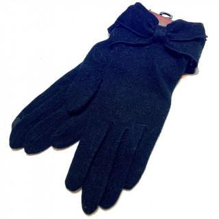 CLATHAS - 新品 スマホ対応 ブラック ニット 手袋 リボン 黒