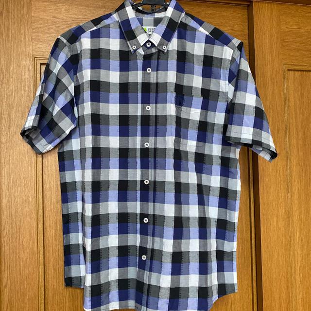 しまむら(シマムラ)のLOGOS DAYS の半袖チェックシャツ 新品未使用品 ロゴ刺繍入り メンズのトップス(シャツ)の商品写真