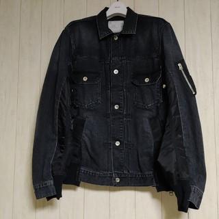 サカイ(sacai)の【未使用品】sacai MA-1ドッキングデニムジャケット ブラック 2(Gジャン/デニムジャケット)