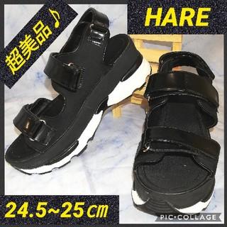 ハレ(HARE)のハレ 3ベルト 厚底 スポーツサンダル ブラック(サンダル)
