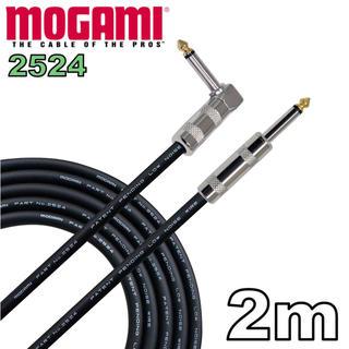 MOGAMI 2524 片側L型 2m ギター ベース シールド(シールド/ケーブル)