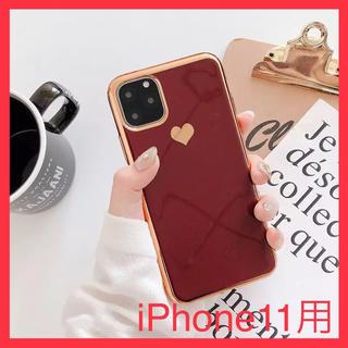 iPhone - iPhone11ケース ハート柄 ワインレッド
