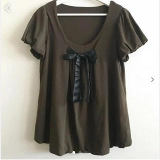 フェリシモ(FELISSIMO)の胸リボン ギャザー カットソー(カットソー(半袖/袖なし))