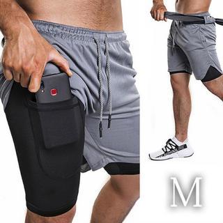 【2層 ショート パンツ】【M・グレー】メンズ スポーツウエア ランニング