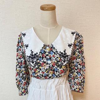 dholic - 花柄 ブラウス シャツ 刺繍襟 ブラック