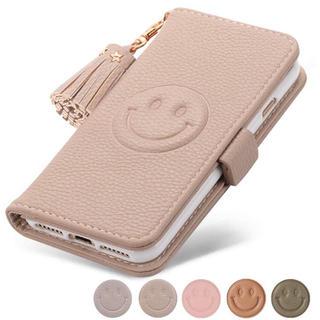 iPhone - Smiley face スマホケース カバー 手帳型 アプリコット (ベージュ)