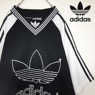 adidas - 【希少】アディダス☆ビッグロゴ入りホッケーtシャツ 刺繍 レイヤードスタイル L