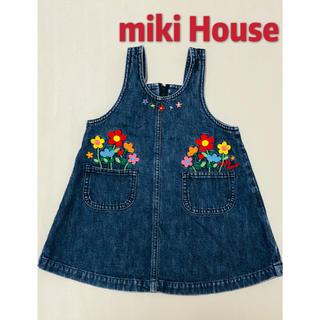 ミキハウス(mikihouse)のミキハウス レトロ ジャンパースカート お花刺繍 ワンピース 美品 90(ワンピース)
