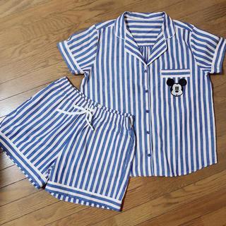 ジーユー(GU)のGU☆ミッキー ディズニー パジャマ 半袖 ストライプ サイズM(パジャマ)