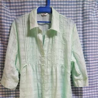 3L 大きいサイズ〜ペパーミントグリーン透け感のあるトップス(シャツ/ブラウス(長袖/七分))