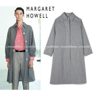 マーガレットハウエル(MARGARET HOWELL)の2017 マーガレットハウエル☆コットン 比翼 ステンカラーコート 2 グレー(スプリングコート)