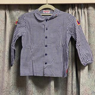 ミキハウス(mikihouse)の美品♡ MIKIHOUSE 紺 ネイビー 長袖 シャツ 120センチ ロゴ(ブラウス)