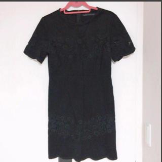 ザラ(ZARA)のZARA woman 刺繍ブラックドレス(ひざ丈ワンピース)