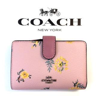 コーチ(COACH)のコーチCOACH財布 二つ折り財布 日本円OKスモールウォレット 花柄ピンク(財布)