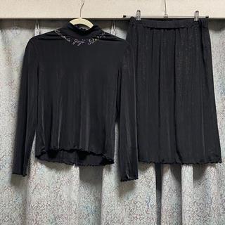 イタリヤ(伊太利屋)の美品 伊太利屋 セットアップ スカート カットソー 黒 ブラック ラインストーン(セット/コーデ)