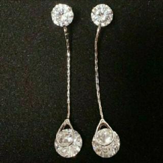 SWAROVSKI - f10  🌸ダリア🌸  ダイヤモンドキュービックジルコニア ロング ピアス