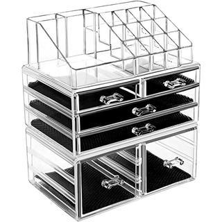 化粧品収納ボックス 透明アクリル メイクケース コスメ 口紅 収納スタンド(ドレッサー/鏡台)