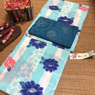 2LW 浴衣 レディース 水色■新品!大人用 仕立て上がり 浴衣単品 変わり織(浴衣)