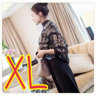 ★本日入荷★セットアップ 七分丈トップス ワイドパンツ 透け感 ブラック XL(スーツ)