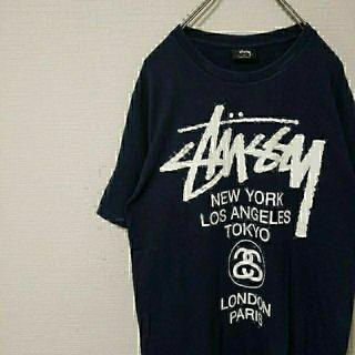 STUSSY - 黒タグ STUSSY ワールドツアーロゴTシャツ