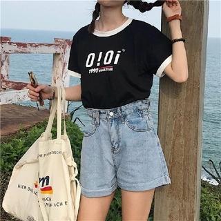 ディーホリック(dholic)の韓国ファッションoioi Tシャツ  カットソー ブラック(Tシャツ(半袖/袖なし))