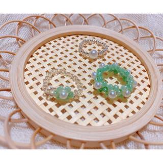 ハンドメイド ビーズリング 韓国 グリーン系