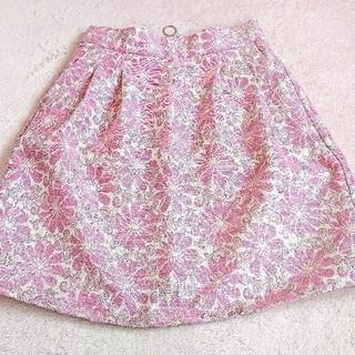 アズノゥアズピンキー(AS KNOW AS PINKY)のほぼ未使用 AS KNOW AS PINKY スカート ピンク 花柄スカート(ミニスカート)