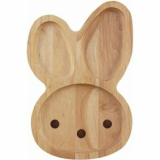 アニマル木製キッズプレート ウサギ(プレート/茶碗)