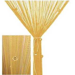ひものれん カーテン 目隠し ストーン付き 間仕切り 100×200 ゴールド