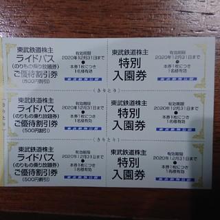 東武動物公園 入園券&ライドパス500円割引券各3枚(遊園地/テーマパーク)