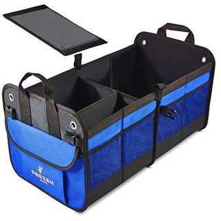 ブルー車の収納ボックスとトランク収納ボックス折り畳み式