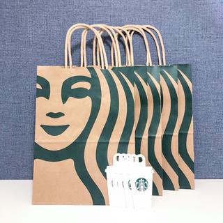 Starbucks Coffee - スターバックス ショップ袋 5枚 タグ ショッパー 紙袋 サイレンロゴ 紙バッグ