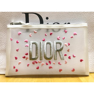 Christian Dior - Dior   ポーチ メッシュ花びら刺繍